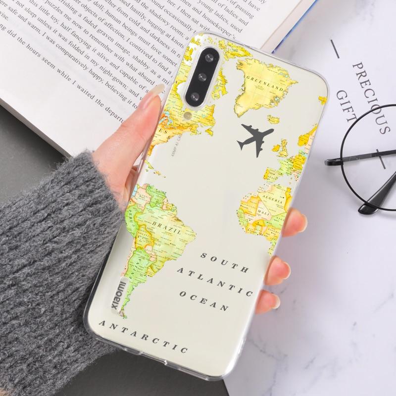 World Map Phone Cases for Redmi Note 8 pro K20 8A Friends Trip Plane Soft Silicone Cover Back Case for Xiaomi Mi 8 9 10 pro Lite