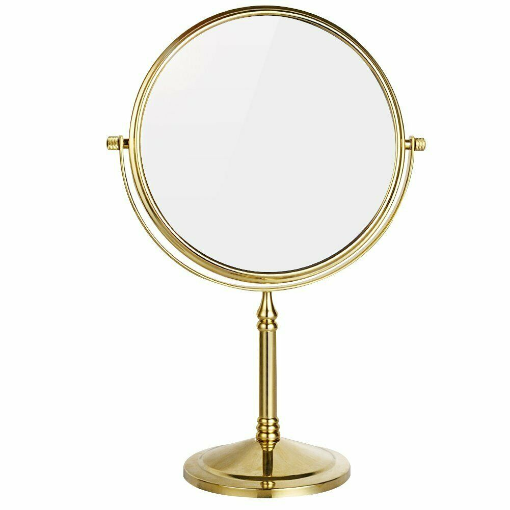 GURUN 8'' Polished Gold 3X/5X/7X/10X Magnification Tabletop Double Sided Standing Vanity Makeup Mirrors Solid Brass 360 Rotating