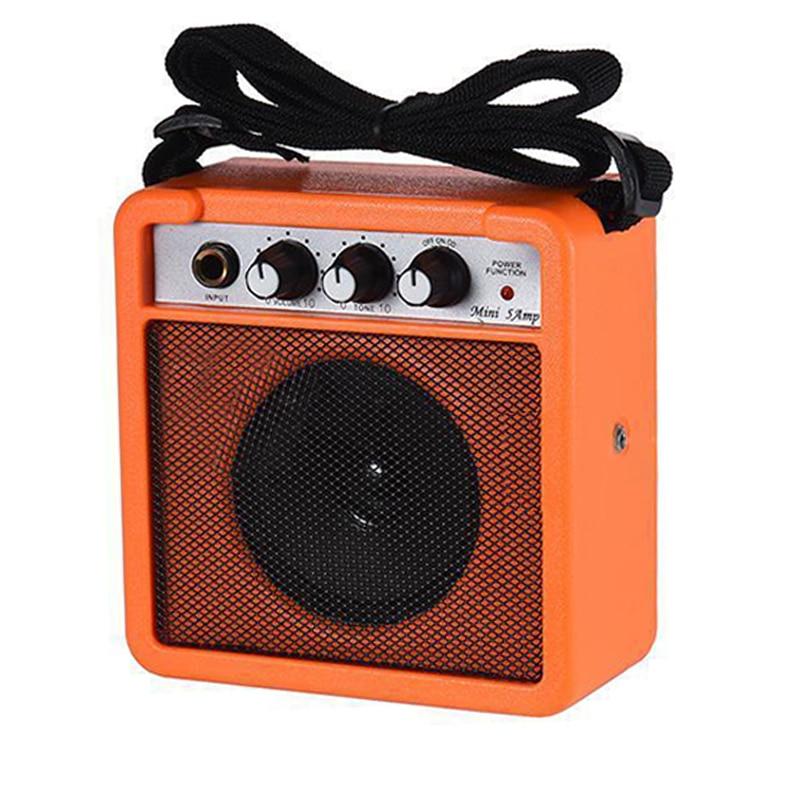 Mini altavoz amplificador 5 vatios 9V con batería para guitarra acústica/eléctrica, ukelele, alta sensibilidad, naranja