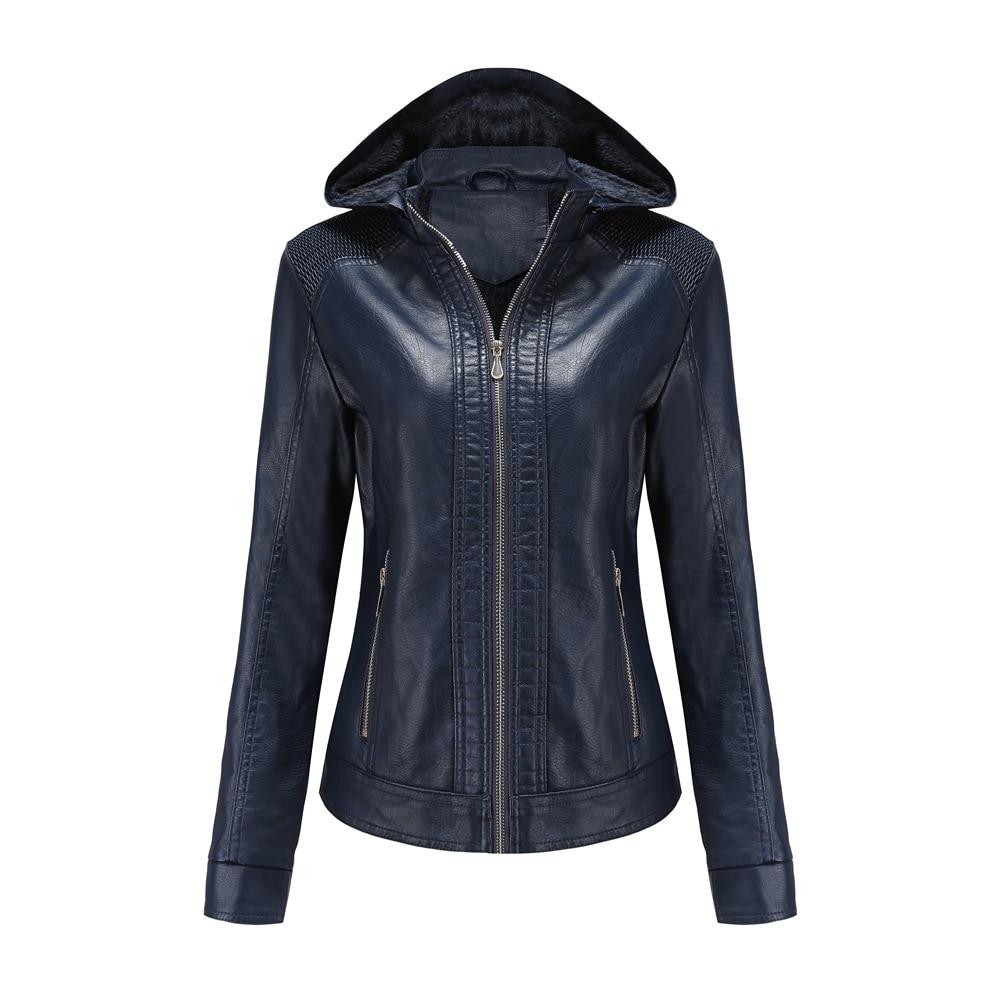 2020 New autumn/winter women's wear can be unloaded hooded leather women's plush warm jacket jacket enlarge