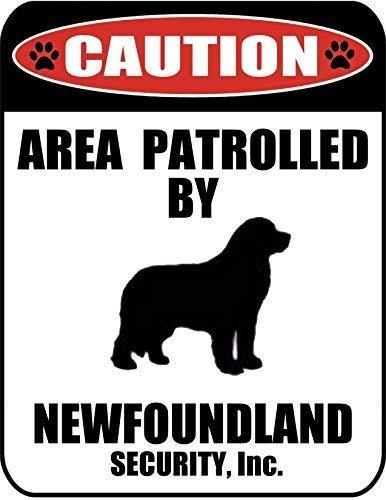 Signo de perro de aluminio metálico de 8x12 pulgadas patrulla por un Terranova