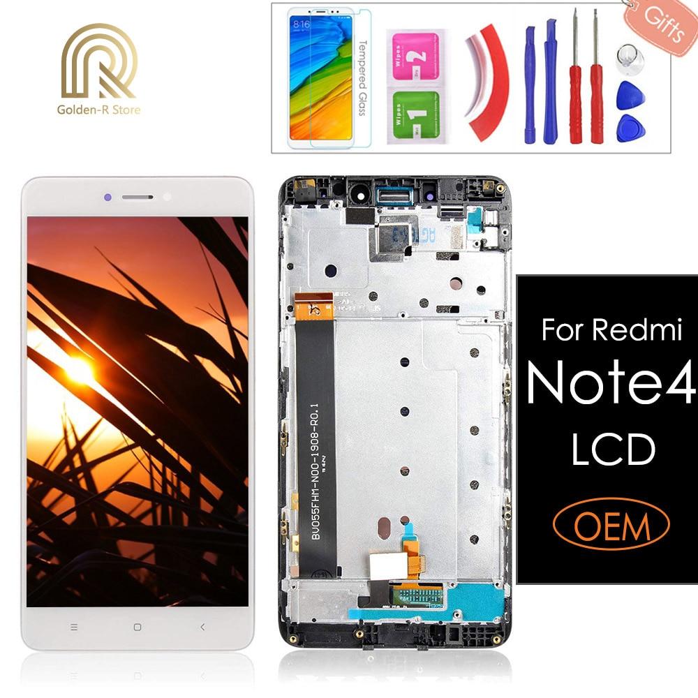 """5.5 """"original para xiaomi redmi nota 4 display lcd e tela de toque com moldura para xiaomi redmi nota 4 digitador assembléia + presentes"""