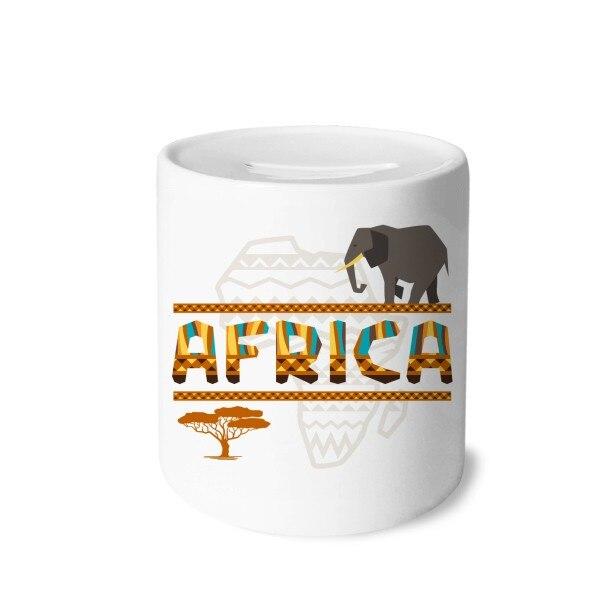 Mapa de África elefante de sabana africana hucha cajas de ahorro de cerámica carcasa para monedas niños adultos
