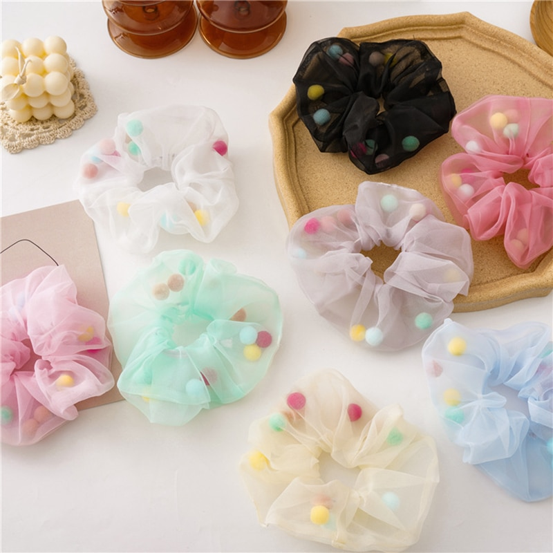 Baby Girls Large Intestine Elastic Hair Bands Multicolor Plush Ball Decoration Mesh 1Pcs For Women Girls Small Fresh Styling