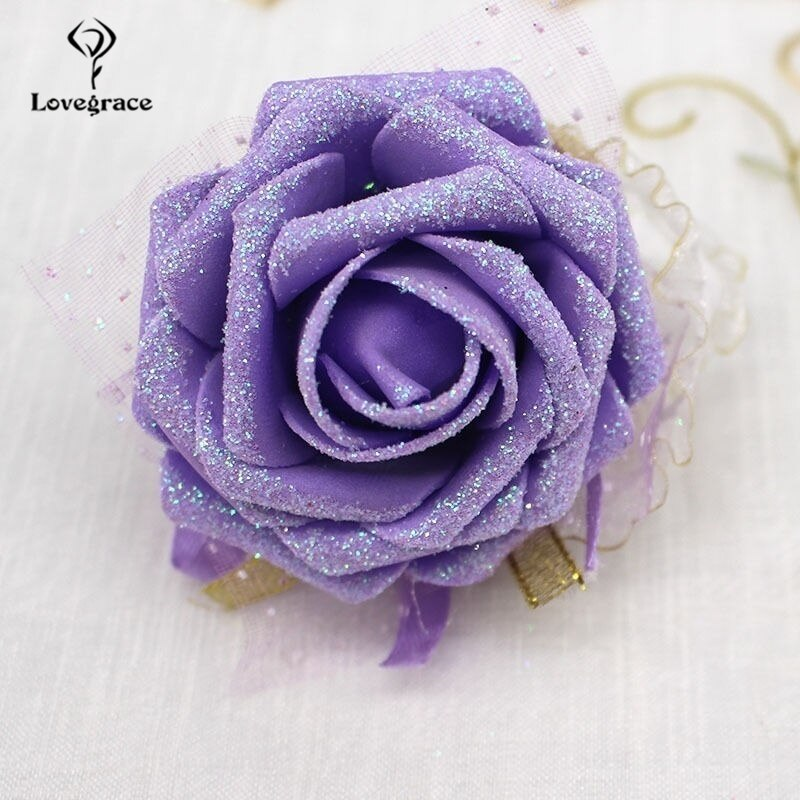 Lovegrace pulso corsage dama de honra irmã casamento mão flor brilhando artificial rosa festa baile de formatura casamento menina pulseira