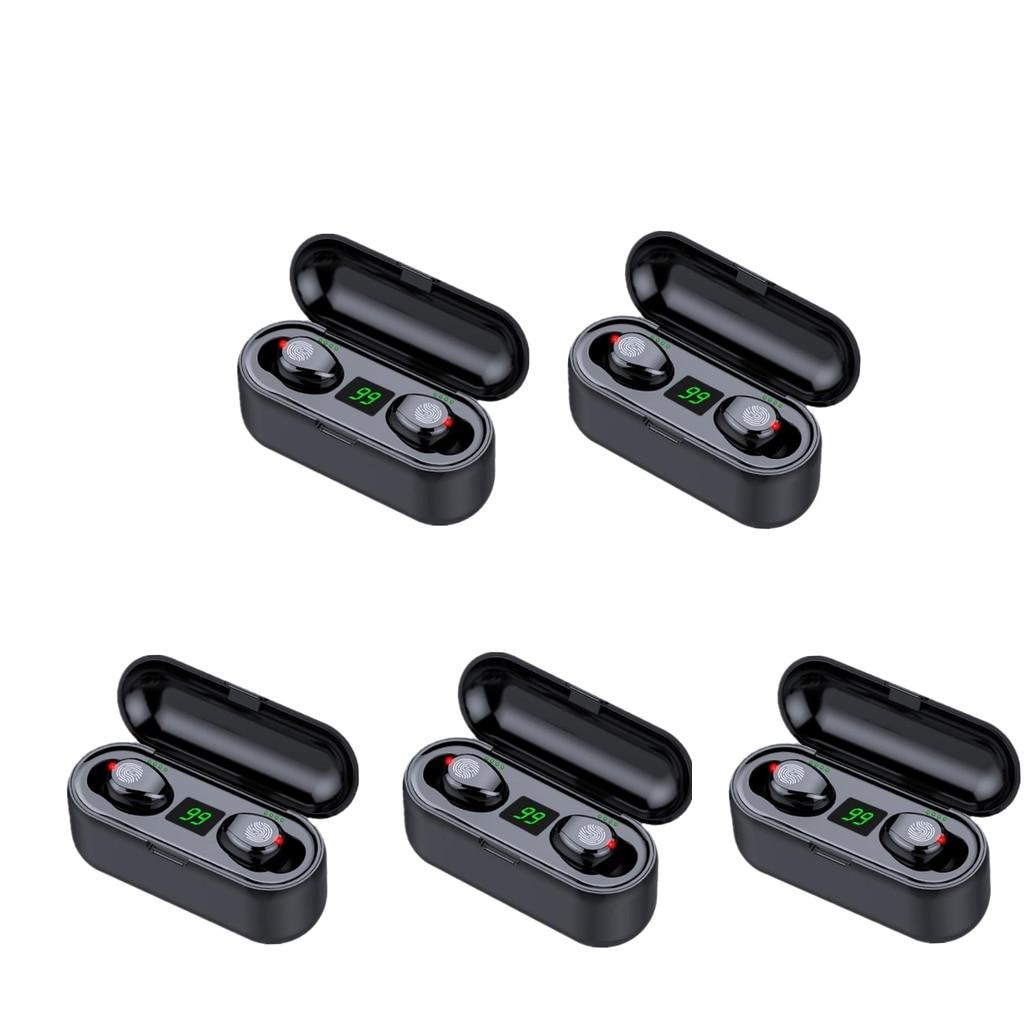 Fones de Ouvido sem Fio com Microfone Esporte à Prova Bluetooth Dwaterproof Água 2200mah Caixa Carregamento 5 Pçs V5.0