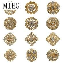 Lot 12pc mélangé couleur or clair strass cristal fleur broche broches pour mariage mariée Bouquets broche ensemble