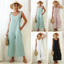 Women's bandage loose Jumpsuit straight tube solid round neck open back sexy Jumpsuit sleeveless new