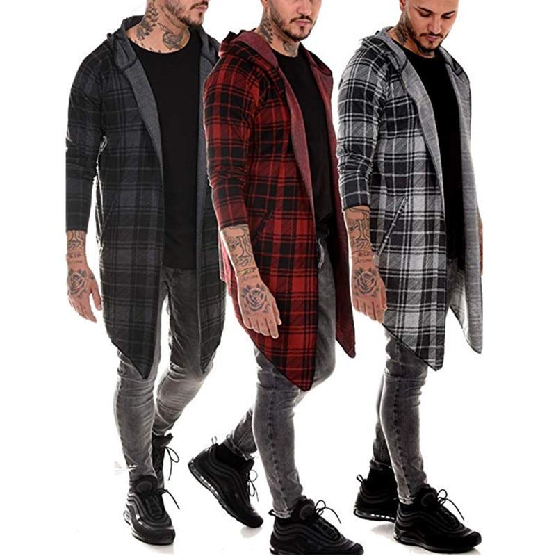 Casaco longo dos homens casaco gótico trench coat cardigan fino longo manto camisola com capuz de malha xadrez moda jaqueta outono steampunk