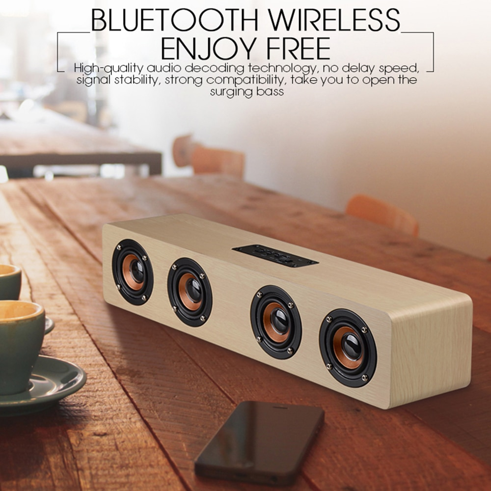 12W Wooden Hifi Bluetooth Speakers Wireless Stereo Subwoofer Home Audio Desktop speaker enlarge