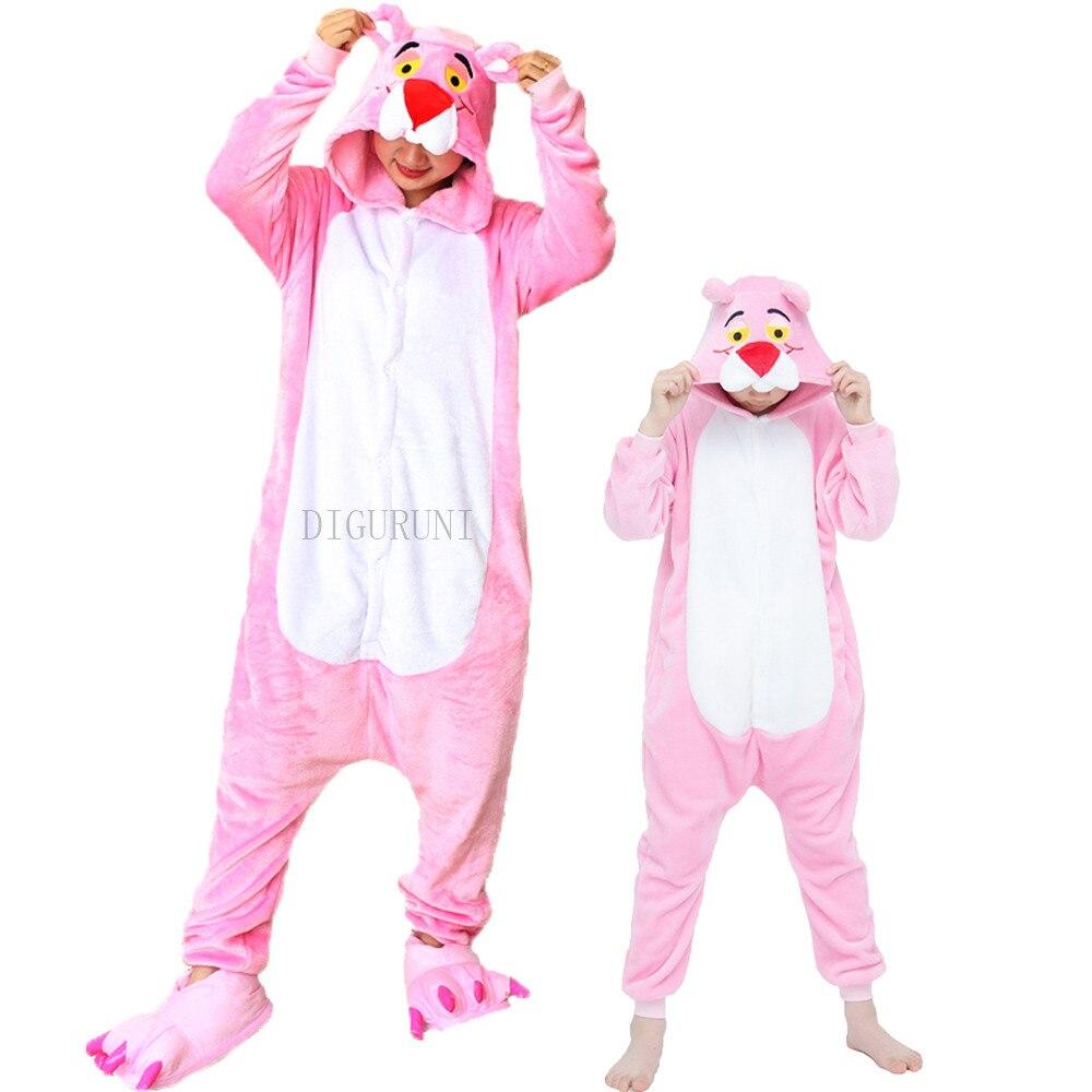 Adultos todo en uno invierno Pijama de Pantera Rosa dibujo de Totoro Onesies Pijama de una pieza ropa de dormir con capucha mujeres hombres pijamas de animales