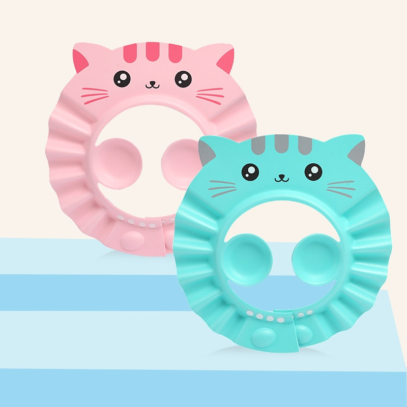 Gorro de ducha ajustable para bebé, lavado de pelo para niños, impermeable, para proteger los ojos y las orejas, estilo de dibujos animados