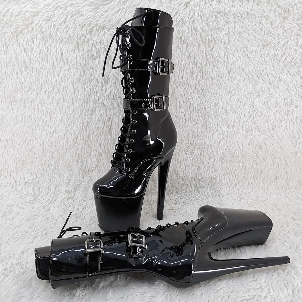 Leecabe 20CM/8Inch shinny black Platform lady fashion ankle boots   for  party   High Heels Pole Dance boot