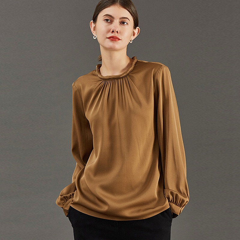 Silk Blouse Women Casual Style 90% Silk 2 Colors Vintage Design O Neck Long Sleeve Pullover Plus Sizes Shirt Top New Fashion