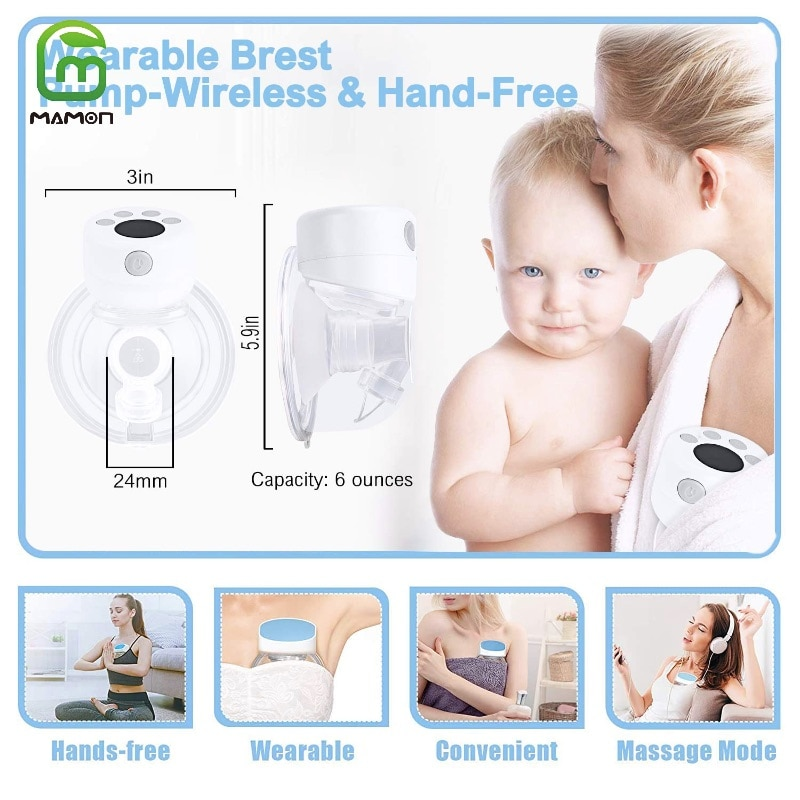MAMON Wearable Electric Breast Pumps Hands-Free  LCD Display Portable Intelligent Wireless Integrated BPA Free One or Double enlarge