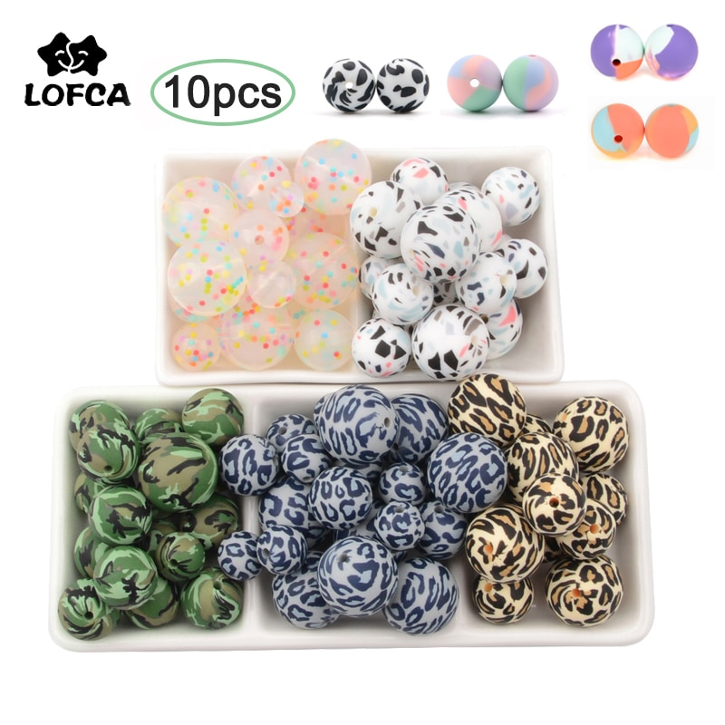 AliExpress - Silicone Beads 10Pcs Leopard Print 12/15/19mm Baby Teether Teething Beads Tie-dye DIY Jewelry BPA Free Pacifier Clip Making
