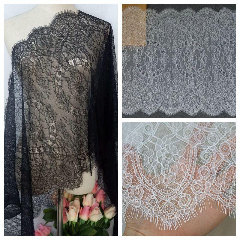 50cm de ancho pequeño hueso línea de encaje tela exquisita línea de corte DIY accesorios de boda blanco negro