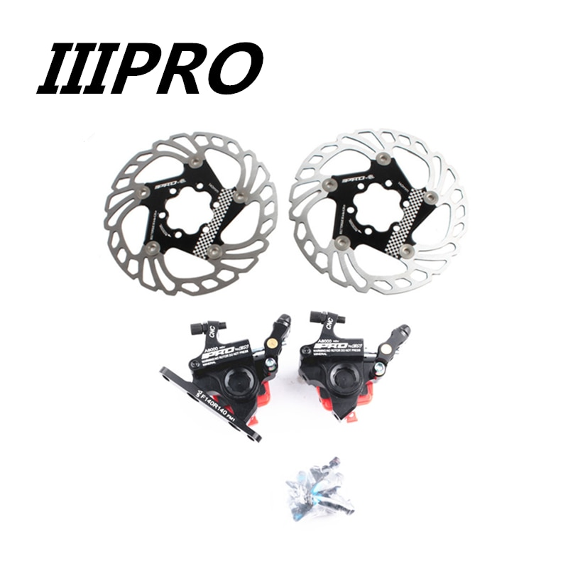 IIIPRO Road Bike Brake Flat-Mounted With AluMechanical Disc Brake Hydraulic Clamp Front Rear Bicycle Brake For 140mm Disc