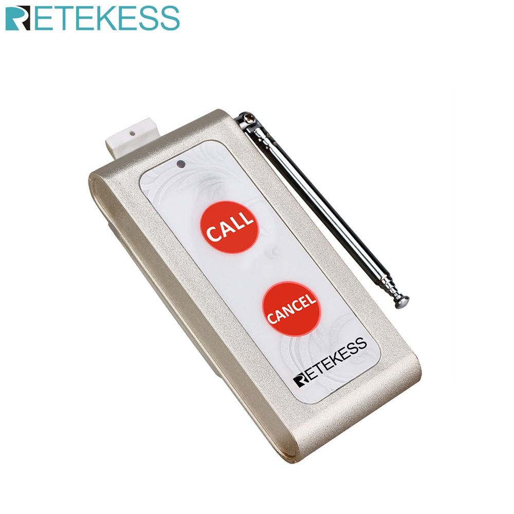 Retekess TD004 Two-key Wireless Calling Bell Pager Call Button Transmitter fo Wireless Calling System for Restaurant Coffee Shop