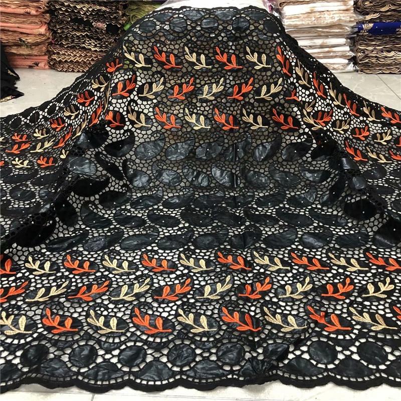 Nouveau noir africain Net dentelle tissu 2020 haute qualité français suisse voile dentelle Bazin Riche tissus 5yards pour robe de mariée L68-68