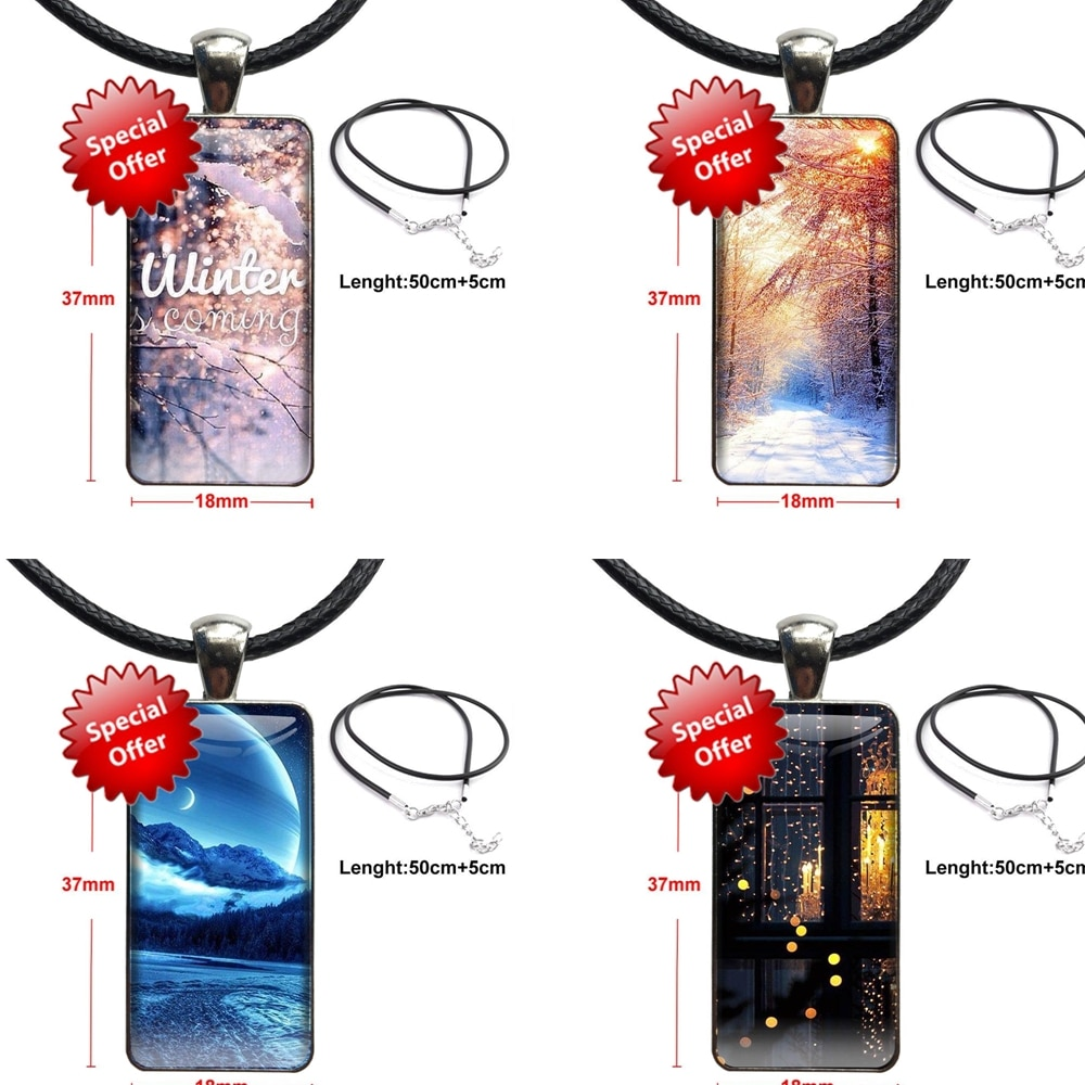 Newly Landscape Winter Light Snow For Christmas Gift Vintage Jewelry Steel Color Glass Cabochon Choker Pendant Long Rectangle