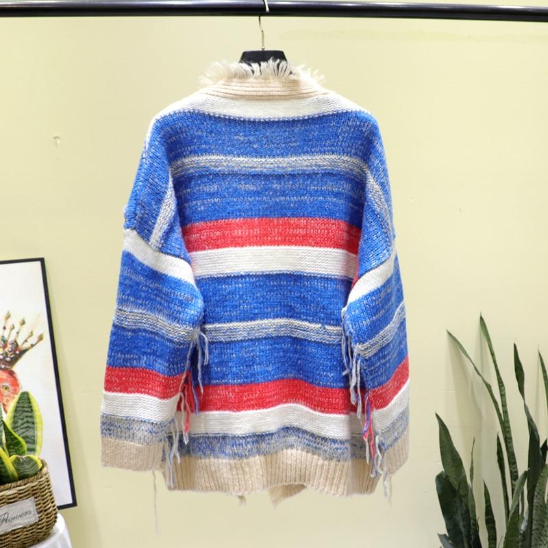 Women's Striped Cardigan Cartoon Bright Knitted Kawaii Sweater Loose Long Sleeve Autumn Clothes Jacket Cardigan Women enlarge
