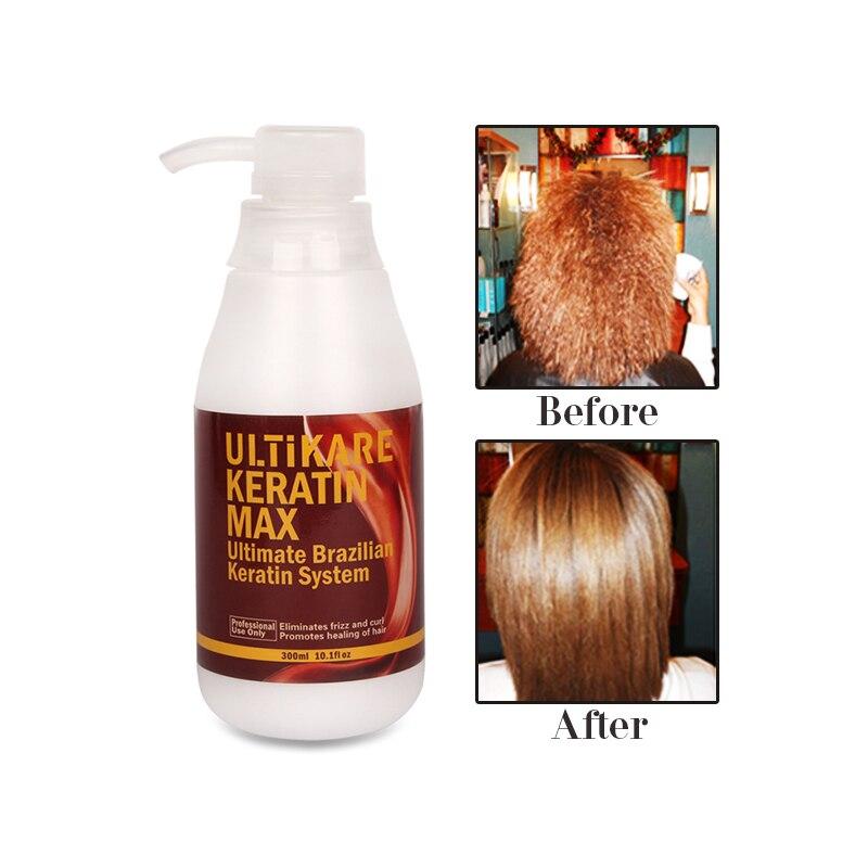 Купить с кэшбэком 300ml 5% Formalin Brazilian UltiKare Keratin Treatment+300ml Purifying Shampoo Straighten Normal Cruly Hair+Free Gift Hair Set
