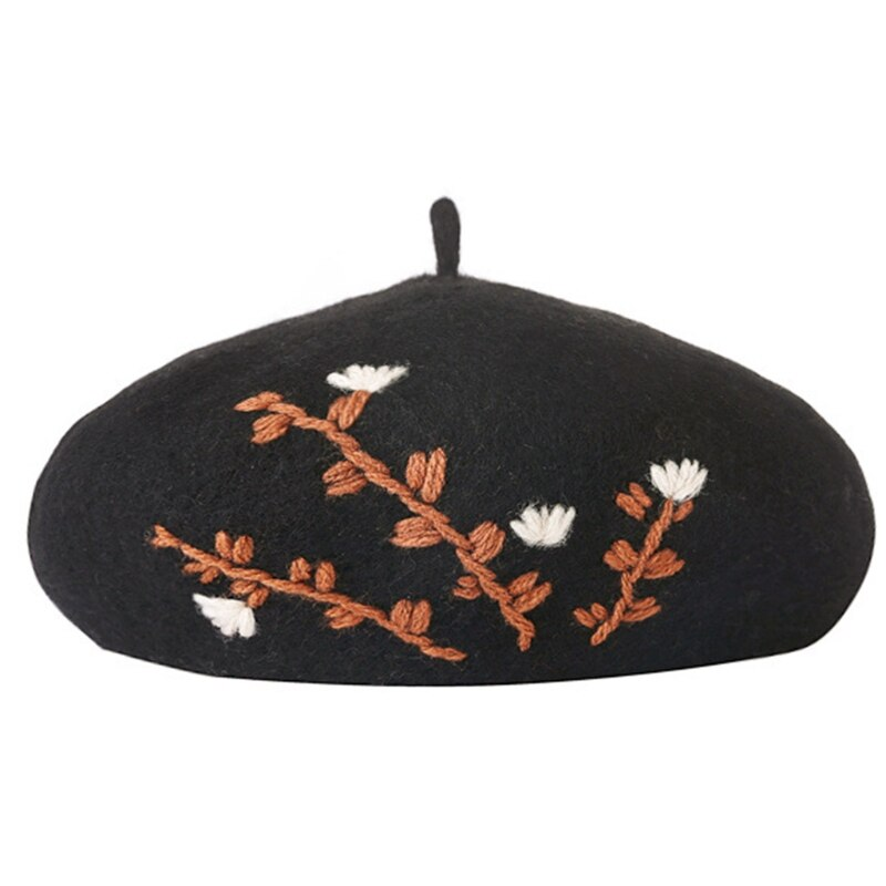 Japanese Style Women Sweet Girls Winter Warm Faux Wool Beret Hat Floral Leaves Embroidery Solid Colo