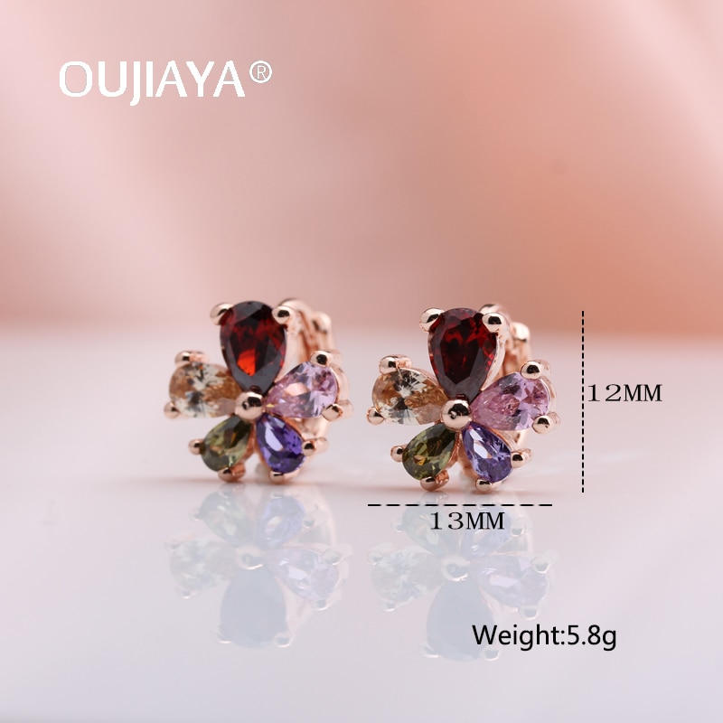 OUJIAYA Big flower Drop Earrings 2020 for Women Fashion Vintage 585 Rose Gold Round Natural Zircon Dangle Earring Jewelry A135  - buy with discount