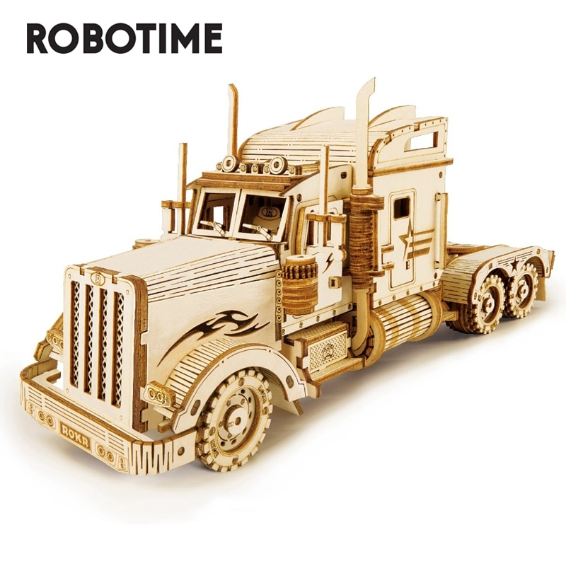 Robotime 1:40 286pcs Classic DIY Movable 3D America Heavy Truck Wooden Model Building Assembly Toy Gift for Children  MC502