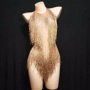 Rhinestones  Gold Tassel Sleeveless Bodysuit Female Jazz Team DJ Pole Dancing Acrobatics Performance Crystals Fringes Leotard