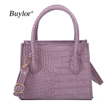 Buylor Fashion Crossbody Bags for Women Crocodile Pattern Small Solid Color Handbag Classical Lady P