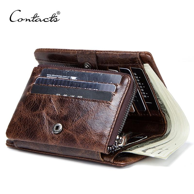 محفظة جلد أصلي للرجال ، محفظة بجيب للعملات المعدنية ، محفظة كلاسيكية مع حامل بطاقات ، محفظة بسحاب قصير