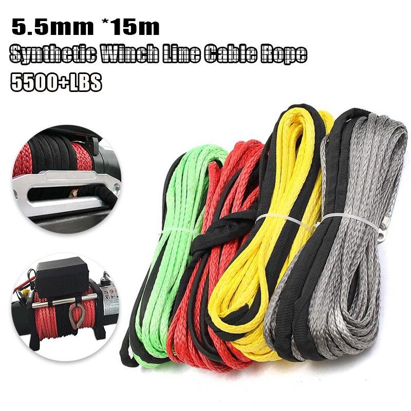 Cable de cabrestante de fibra sintética, cuerda de 3/16 pulgadas x 50...