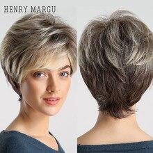 HENRY MARGU-Peluca de pelo corto sintético para mujeres blancas y negras, pelo con raíces oscuras, degradado, marrón, Rubio, corte Pixie esponjoso, resistente al calor