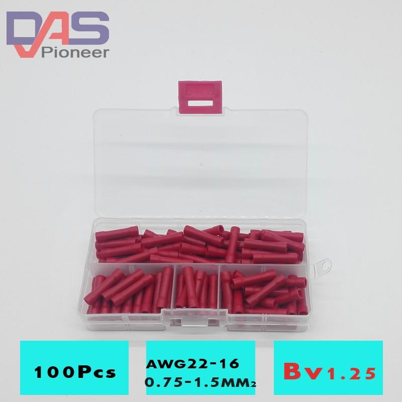 100 шт. BV1.25 Терминатор соединитель провода стыковые соединители ассортимент Столярный обжимной Электрический провод Соединительный термин...