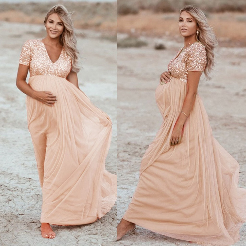 Women Maternity Dress Sequined Solid Color Short-sleeved Photography Props Long Dresses Summer
