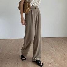 spring and summer wide-legged trousers female elastic waist design anti-wrinkle women pants 25009#