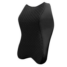 1pc Car Seat Auto Interior Black Headrest Memory Foam Breathable Pillow Cushion