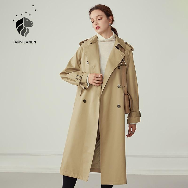 FANSILANEN-معطف واق من المطر كاكي طويل للنساء ، معطف خريفي وشتوي مع حزام ، مقاوم للرياح ، غير رسمي ، ملابس الشارع ، جاكيت ، معطف واق من المطر