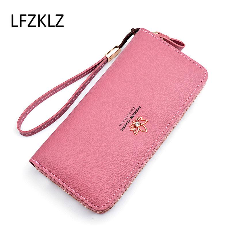 LFZKLZ 2020 Fashion Women Wallets Long Leather Quality Card Holder Classic Female Purse Zipper Wallet For Wristlet