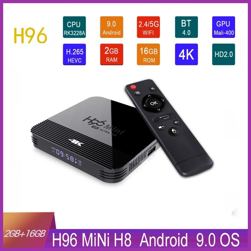 H96mini h8 rk3328a android 9.0 caixa de tv 2.4g 5g banda wifi 4 k h.256 conjunto caixa superior media player