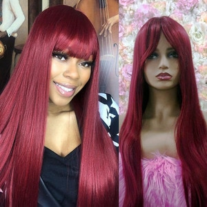 SiNuo Long Straight Synthetic Wigs With Bangs For Black Women Natural Wine Red Hair Lifelike Full Mechanism Perruque Daily Use