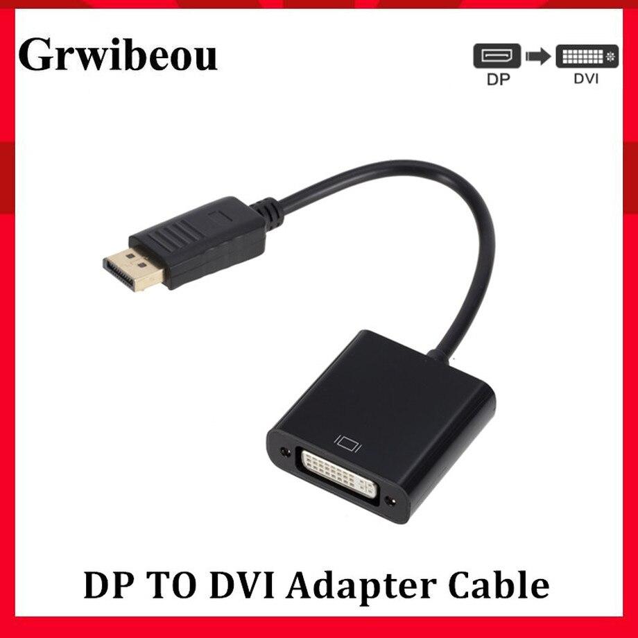 Puerto de visualización Grwibeou a DVI Cable Adaptador convertidor macho a hembra 1080P para Monitor proyector pantallas DP a DVI Cable adaptador