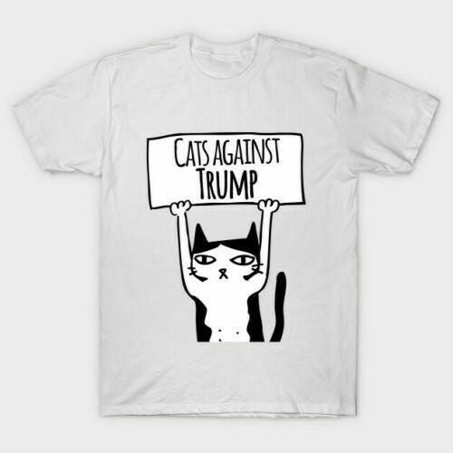 Gatos contra anti trump presidente votar animal político engraçado branco t camisa wm97
