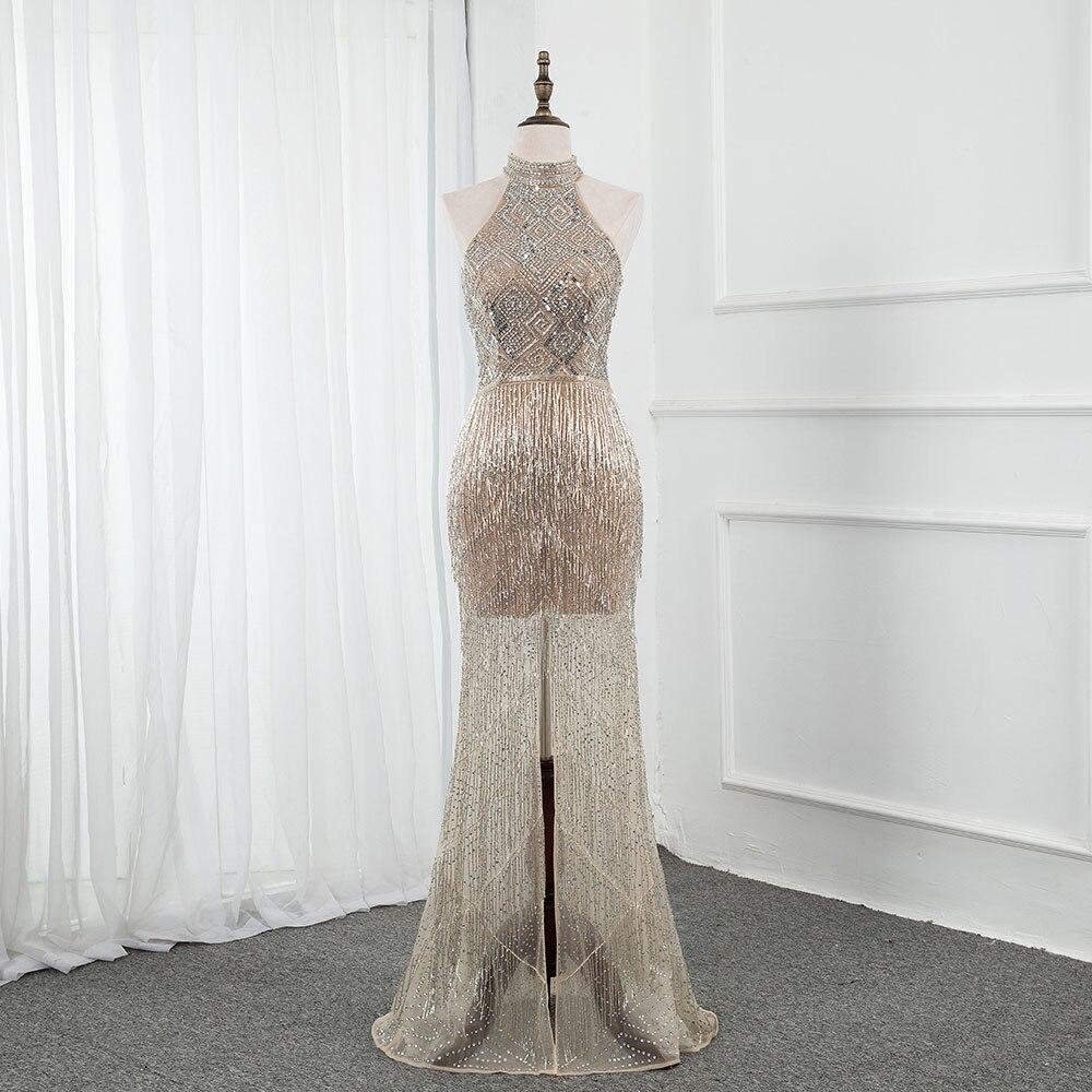 فستان سهرة فاخر مرصع بالألماس ، فستان سهرة طويل ، رسن ، خرز ، رسن ، رسن ، مستقيم ، فتحة مثيرة ، YQLNNE ، متوفر