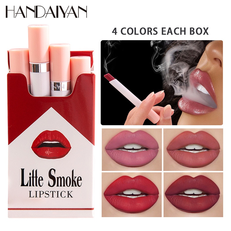 4PCS / Bag Lipstick Small Fragrance Smoke Surface Lasting Waterproof Non-stick Cup Lip Glaze Non-fad