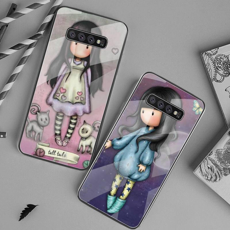 Santoro Gorjuss mignon dessin animé fille doux noir étui de téléphone en verre trempé pour Samsung S20 Plus S7 S8 S9 S10 Plus Note 8 9 10 Plus
