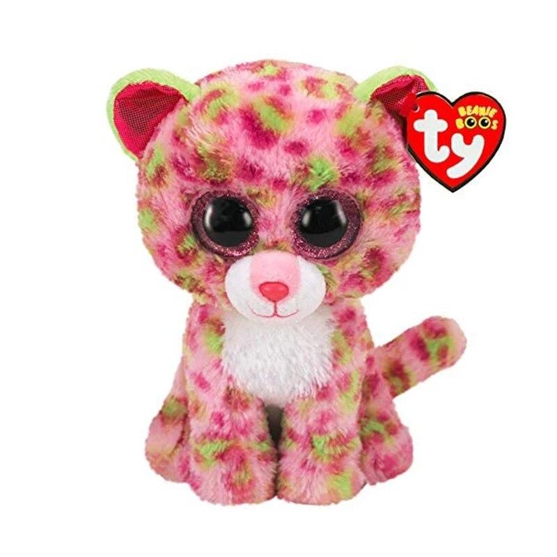 Ty Beanie Boos с большими глазами розовые зеленые пятнистые леопардовые мягкие плюшевые животные коллекция кукол игрушки Рождественский подарок...