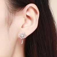 irregular dandelion design inlaid zircon 925 silver stud earrings women charming jewelry for birthday party valentines day gift